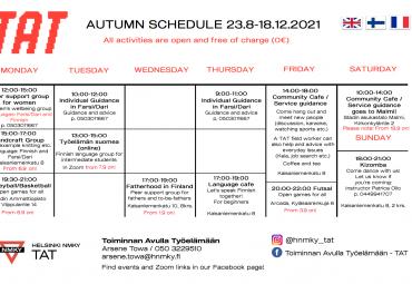 Autumn schedule 2021