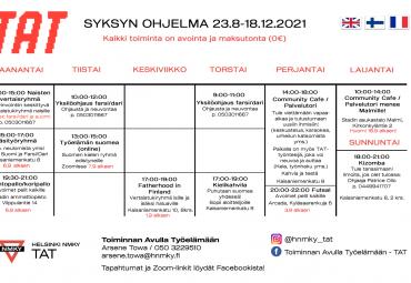 Syksyn aikataulu 2021