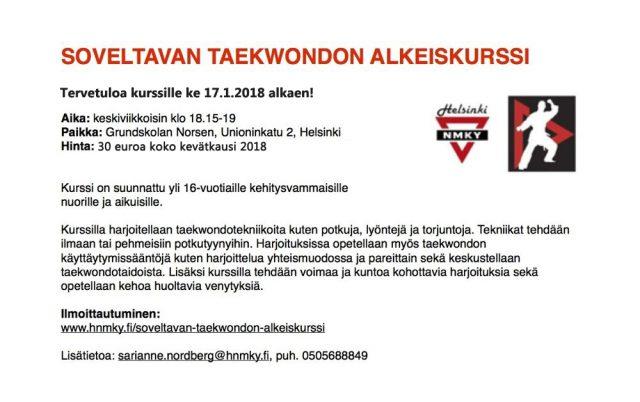 SoveltavataekwondoKevät2018esite