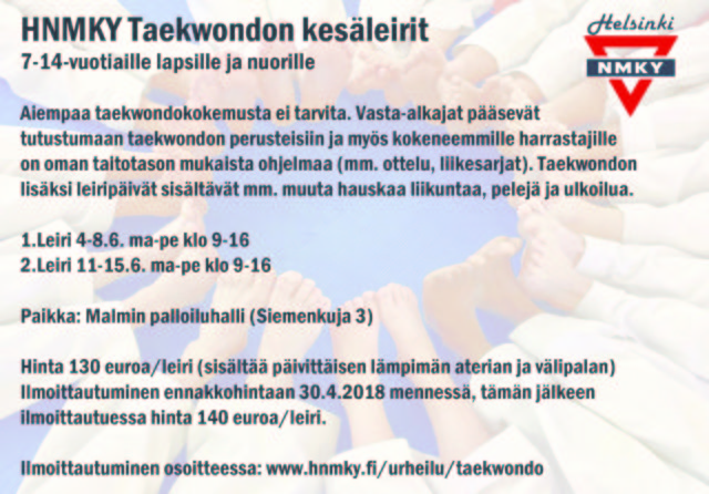 taekwondon kesäleiri 2018 website