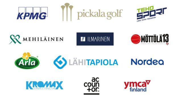 Helsinki YMCA Golf Challenge 2018 Invitational yhteistyökumppanit lasten ja nuorten harrastustoimintaa mahdollistamassa, suuri kiitos!